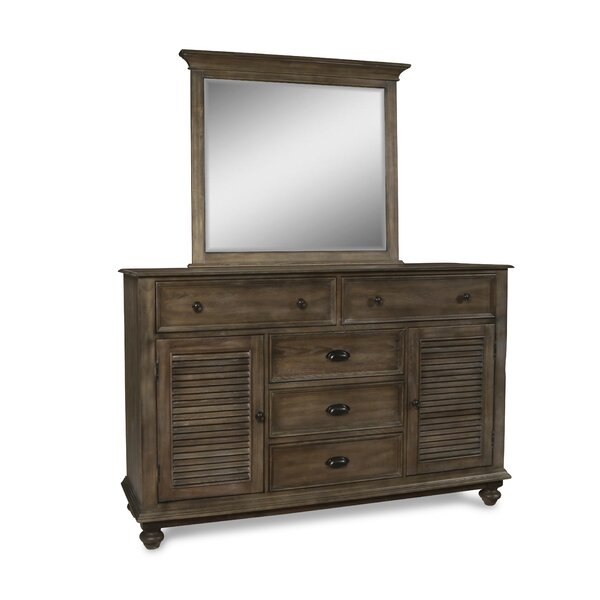 Spriggs 5 Drawer Combo Dresser with Mirror by Highland Dunes