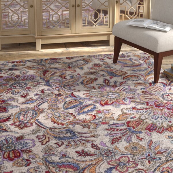 Turner Modern Floral Cream/Red Area Rug by Bungalow Rose