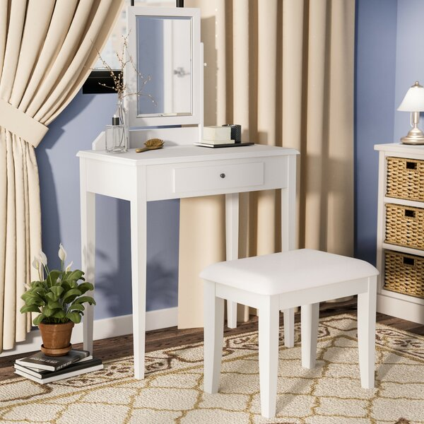 Kiger Solid Wood Vanity Set with Stool with Mirror by Andover Mills Andover Mills