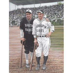 Babe Ruth and Lou Gehrig Artwork by Darryl Vlasak Painting Print on Wrapped Canvas by Buy Art For Less