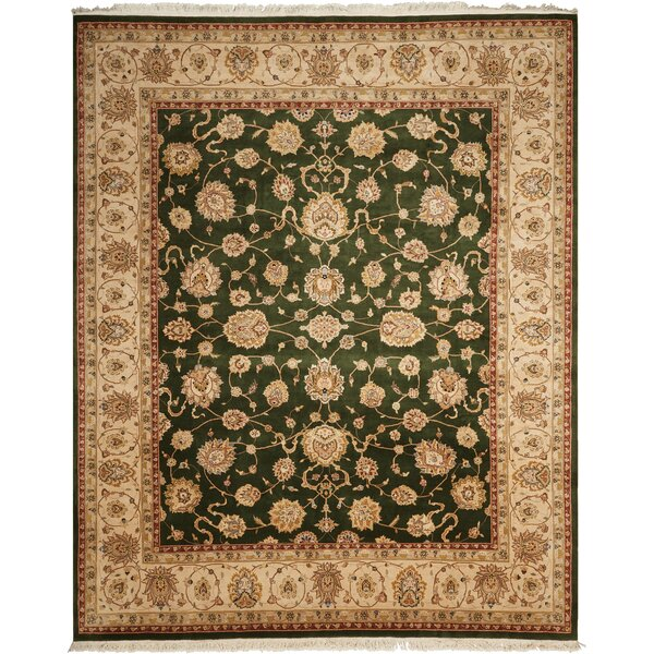 Dunluce Hand-Knotted Wool Emerald/Beige Area Rug by Canora Grey