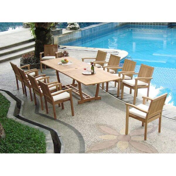 Manzanita Luxurious 11 Piece Teak Dining Set by Rosecliff Heights