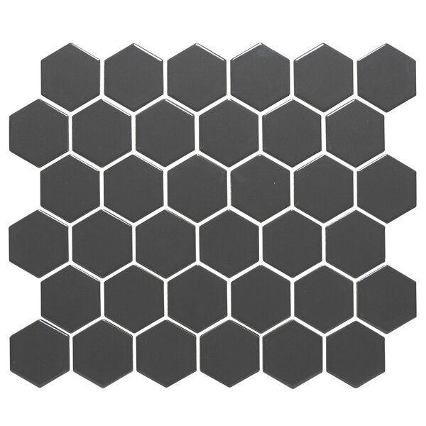 Barcelona Hexagon Glossy 2 x 2.32 Porcelain Mosaic Tile in Gray by The Mosaic Factory