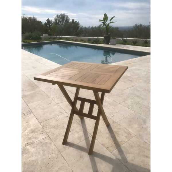 Chatham Square Folding Teak Bistro Table by Rosecliff Heights
