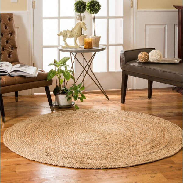 Syston Hand-Braided Beige Area Rug by Highland Dunes