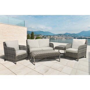 Bavis 5 Piece Rattan Conversation Set with Cushions By Gracie Oaks