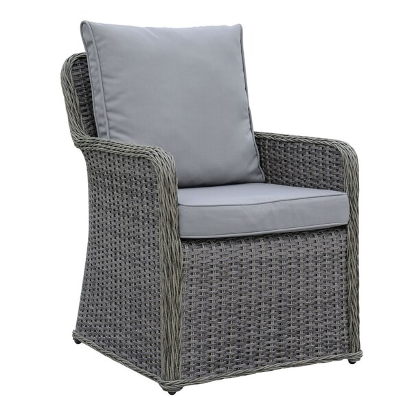 Winston Aluminum Wicker Frame Patio Dining Chair with Cushion (Set of 2) by One Allium Way