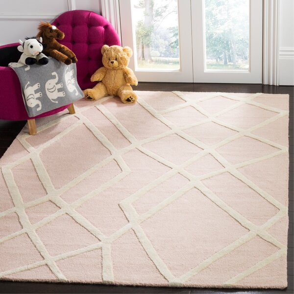 Reid Abstract Hand-Tufted Pink Area Rug by Harriet Bee