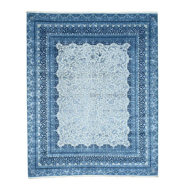 One-of-a-Kind Salzer 300 Kpsi Half Hand-Knotted Ivory/Blue Area Rug by Astoria Grand