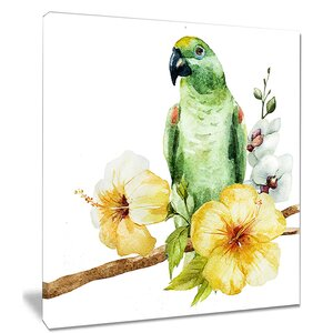'Parrot with Flowers' Graphic Art on Wrapped Canvas by Design Art