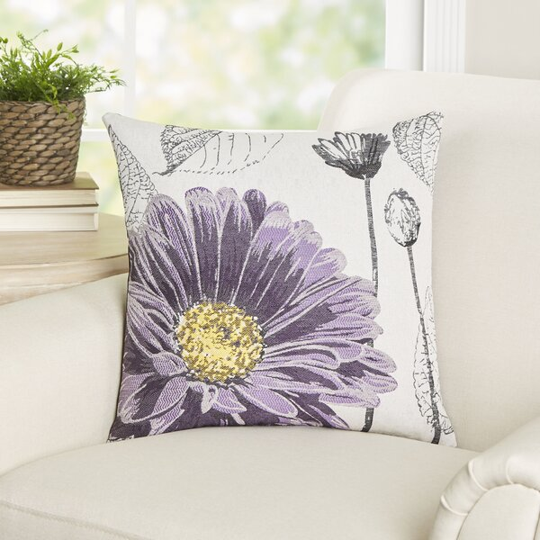 Krauss Flower Embroidery Throw Pillow by Darby Home Co