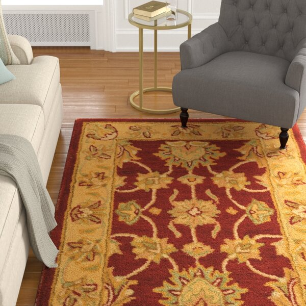 Cranmore Hand-Tufted Wool Red/Gold  Area Rug by Charlton Home