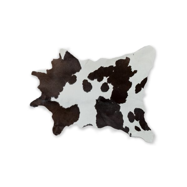 Hali Hand-Woven Cowhide Chocolate/White Area Rug by Bloomsbury Market