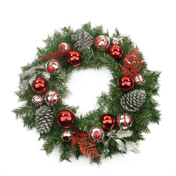Pre-Decorated Holly, Ball, Cedar and Pine Cone Artificial Christmas Wreath by Northlight Seasonal