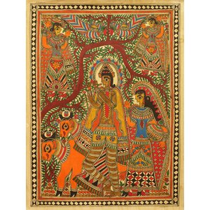 Krishna with His Cattle by Devendra Kumar Jha and Family Painting Print by Novica