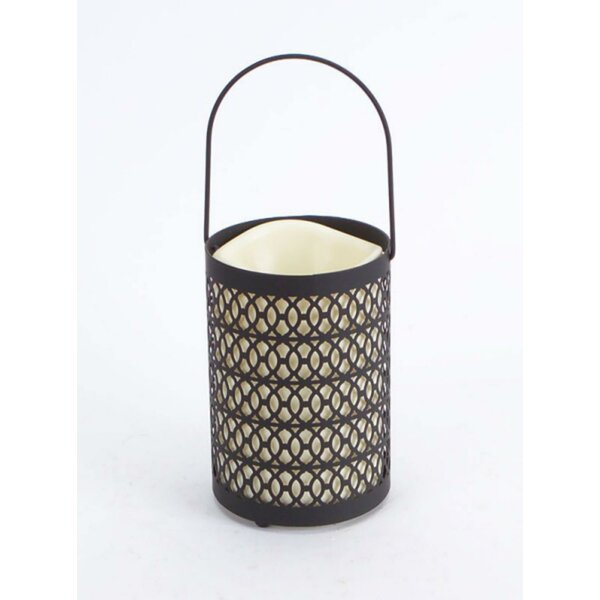 Battery Operated Indoor LED Metal Lantern with Timer by Bungalow Rose