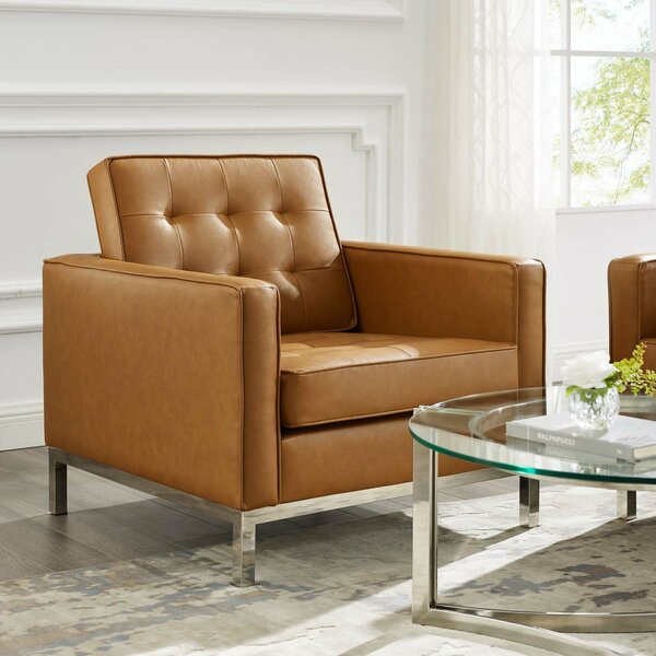 Aurora Tufted Button Upholstered Faux Leather Armchair by Ivy Bronx