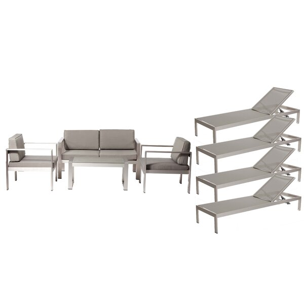 KRN LRG 6 Pieces Complete Patio Set with Cushions by Rosecliff Heights Rosecliff Heights