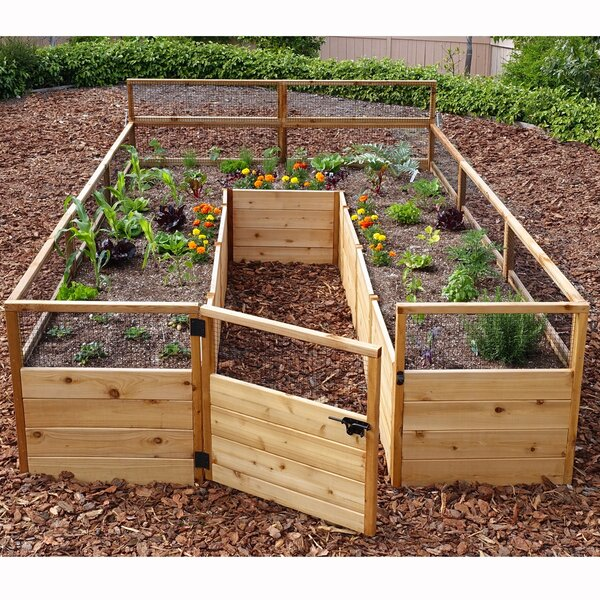 8 ft x 12 ft Raised Cedar Garden Bed with Deer Fence Kit by Outdoor Living Today