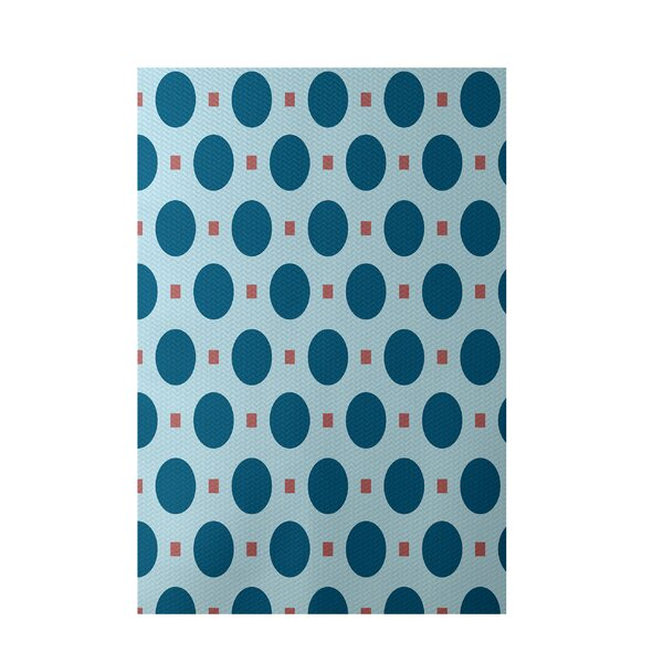 Geometric Teal Indoor/Outdoor Area Rug by e by design