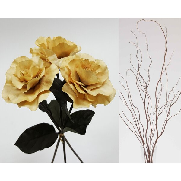 Curly Willow and Burmese Roses Floral Arrangement by Charlton Home