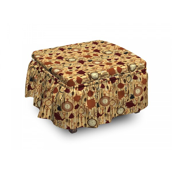 Tea Party Breakfast Brunch Time 2 Piece Box Cushion Ottoman Slipcover Set By East Urban Home