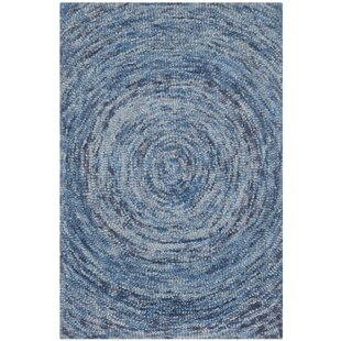 Ikat Hand-Tufted Wool Dark Blue Area Rug by Safavieh