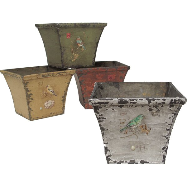 Derry 4-Piece Wood Pot Planter Set by Selectives