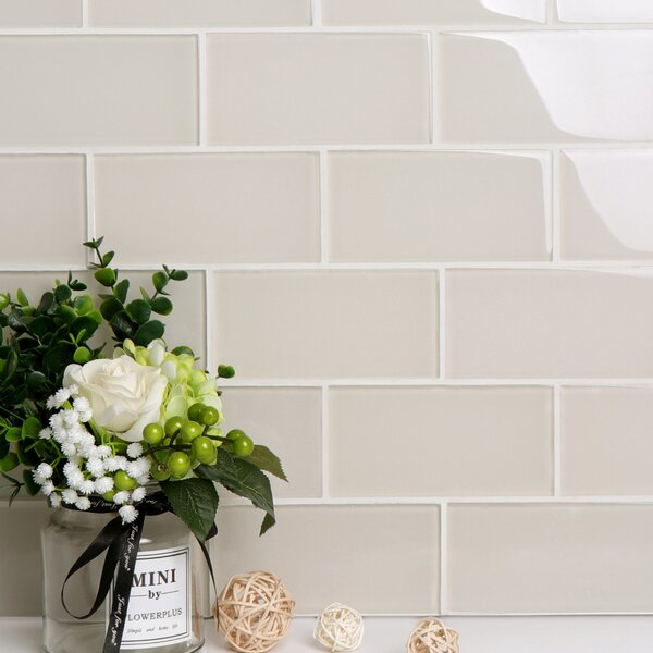 Premium Series 3 x 6 Glass Subway Tile in Glossy Ivory by WS Tiles
