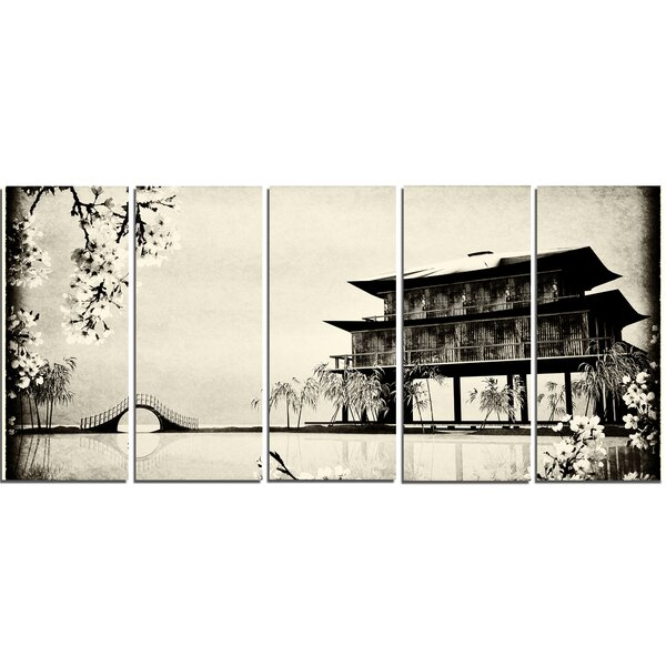 Chinese Ink Painting 5 Piece Wall Art on Wrapped Canvas Set by Design Art