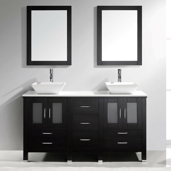 Rusch 60 Double Bathroom Vanity Set with Mirror by Latitude Run
