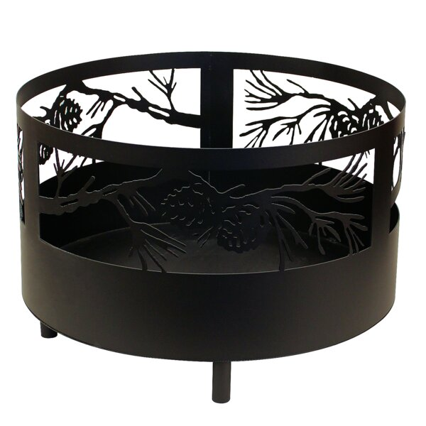 Pine Cone Branch Scene Metal Wood Burning Fire Pit by Coast Lamp Mfg.
