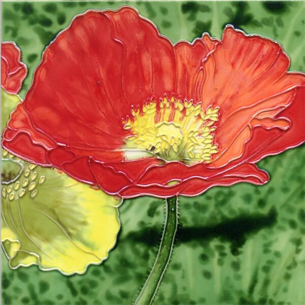 Red Poppy Tile Wall Decor by Continental Art Center