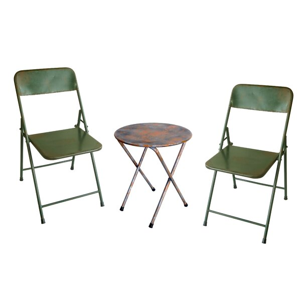 Odin Rustic Folding Classic 3 Piece Bistro Set by Williston Forge