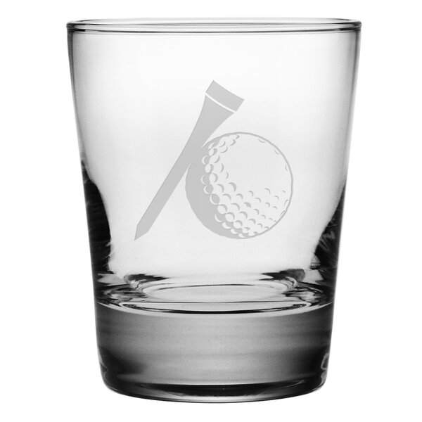 Golf Ball and Tee Double 13.25 oz. Old-Fashioned Glass (Set of 4) by Susquehanna Glass
