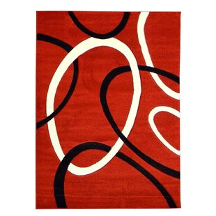 Great choice Hollywood Circle Red/Black Area Rug By Sintechno