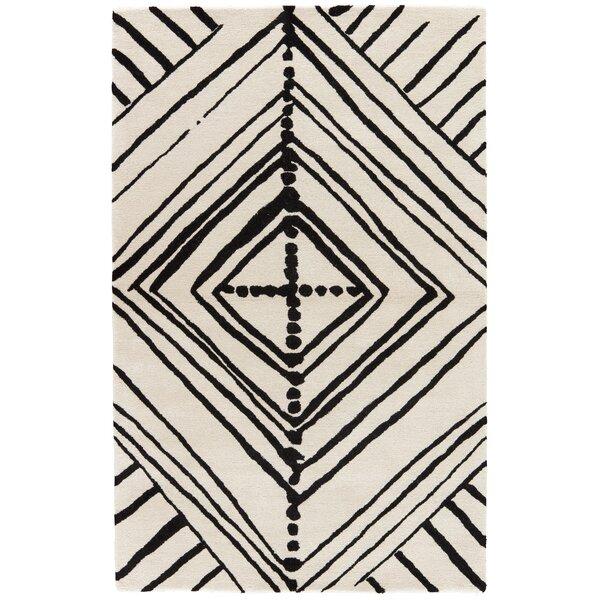 Bourassa Geometric Handmade White Area Rug by Union Rustic
