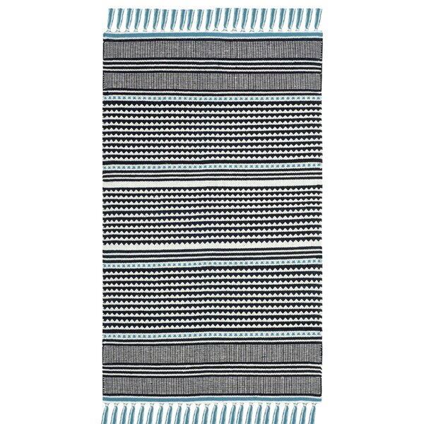 Granada Hand-Woven Turquoise/Gray Area Rug by Wrought Studio
