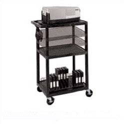 Multi-Height Open Shelf Table AV Cart with Locking Cabinet by Luxor