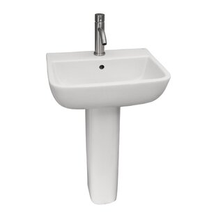 Inexpensive Series Lavatory Vitreous China 20.5 Pedestal Bathroom Sink with Overflow By Barclay