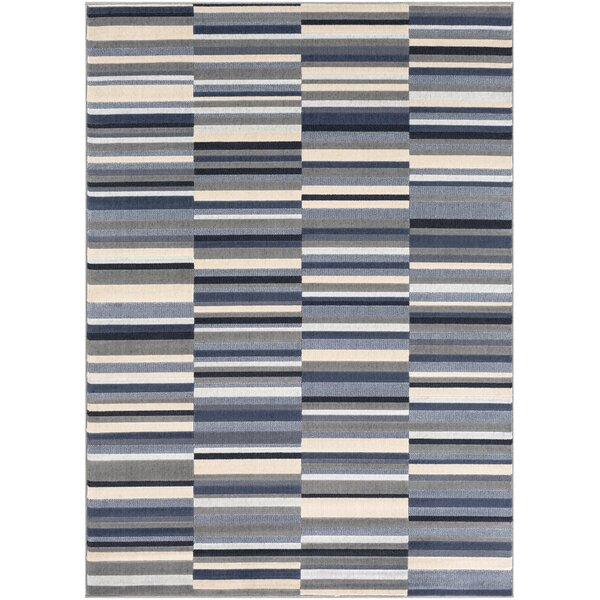 Bahr Striped Taupe/Charcoal Area Rug by George Oliver