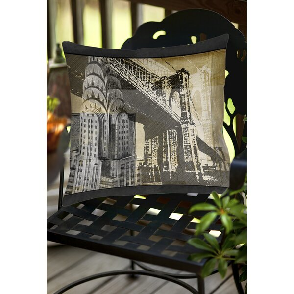 Metropolitan Collage 1 Indoor/Outdoor Throw Pillow by Manual Woodworkers & Weavers