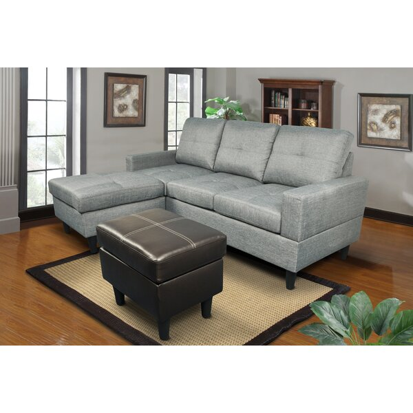 Sowa Simple Reversible Sectional with Ottoman by Ebern Designs
