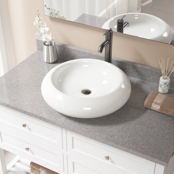 Pillow Top Vitreous China Circular Vessel Bathroom Sink with Faucet by MR Direct
