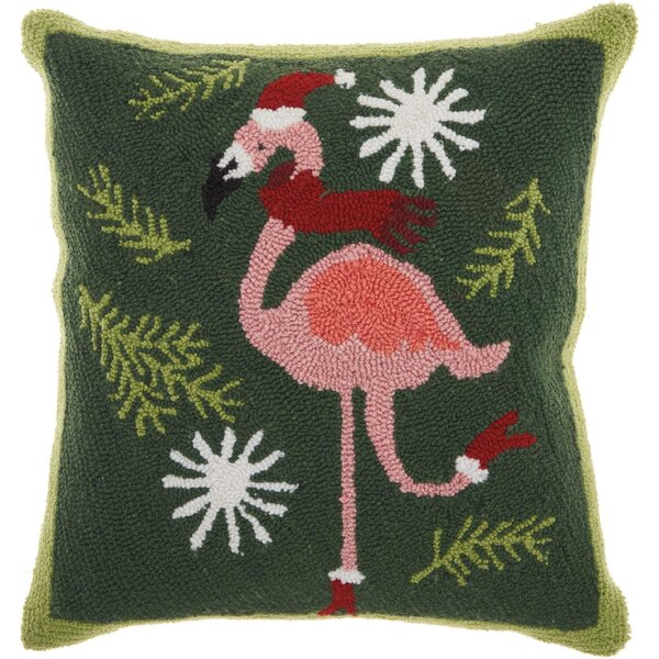 Leboeuf Festive Flamingo Wool Throw Pillow by The Holiday Aisle