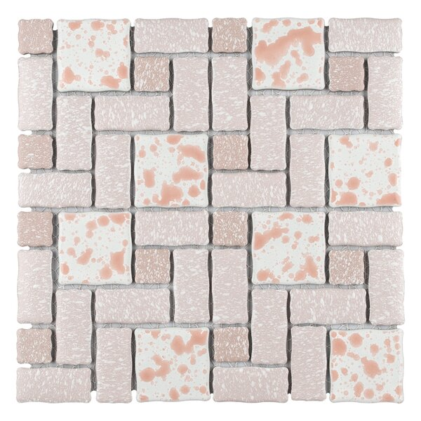 Pallas Random Sized Porcelain Mosaic Tile in Pink by EliteTile