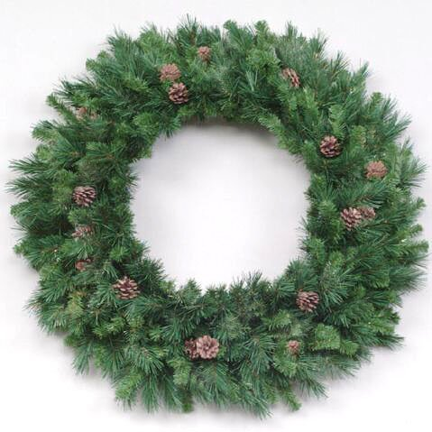 96 Artificial Pine with Cones Christmas Wreath by Beachcrest Home