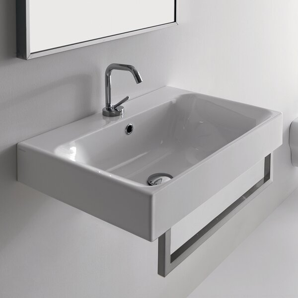 Cento Ceramic 24 Wall Mount Bathroom Sink with Overflow by WS Bath Collections