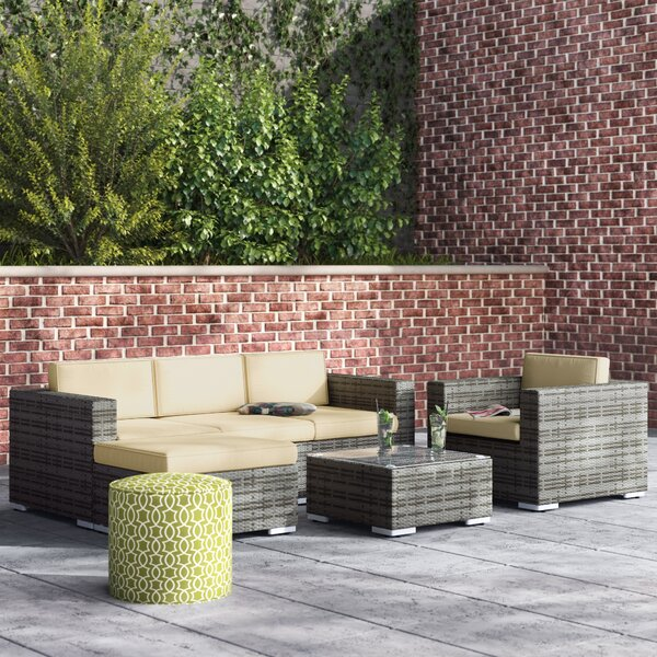 Rister 4 Piece Rattan Sofa Seating Group with Cushions by Mercury Row