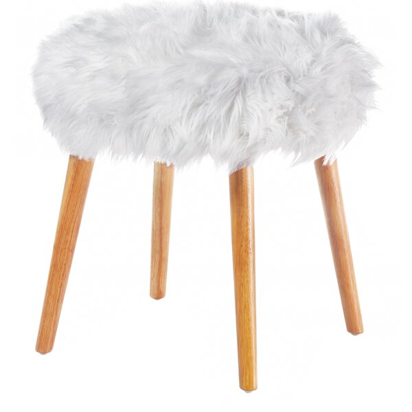 Mouzon Faux Fur Stool Vanity Stool by Wrought Studio